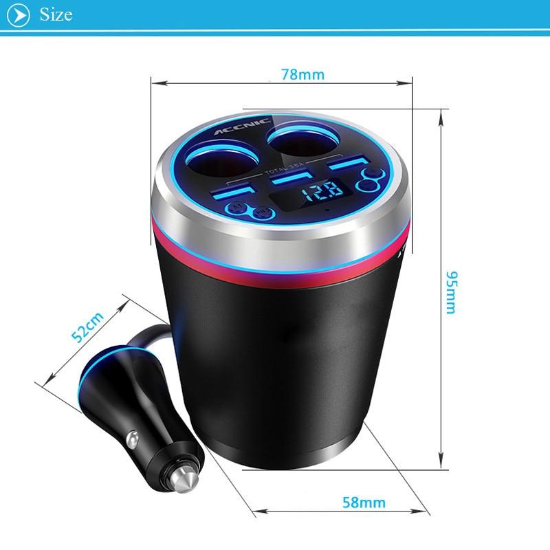 JINSERTA Car MP3 Player With Remote Bluetooth Car Kit FM Transmitter HandsFree Cigarette Lighter Splitter 3 Ports USB Charger