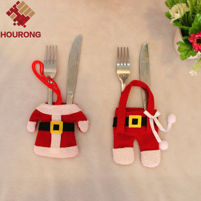 2PCS/Set Cute Mini Santa Suit Knife Fork Dinnerware Set Cover Red Christmas Table Decoration & 2PCS/Set Cute Mini Santa Suit Knife Fork Dinnerware Set Cover Red ...