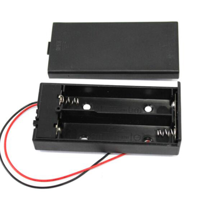 цена на Zerosky 3.7V 2x 18650 Battery Holder Connector Storage Case Box with ON/OFF Switch with Cable