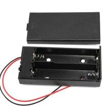 Zerosky caja de almacenamiento para conector de soporte de batería, 3,7 V, 2x18650, con interruptor de encendido/apagado con Cable