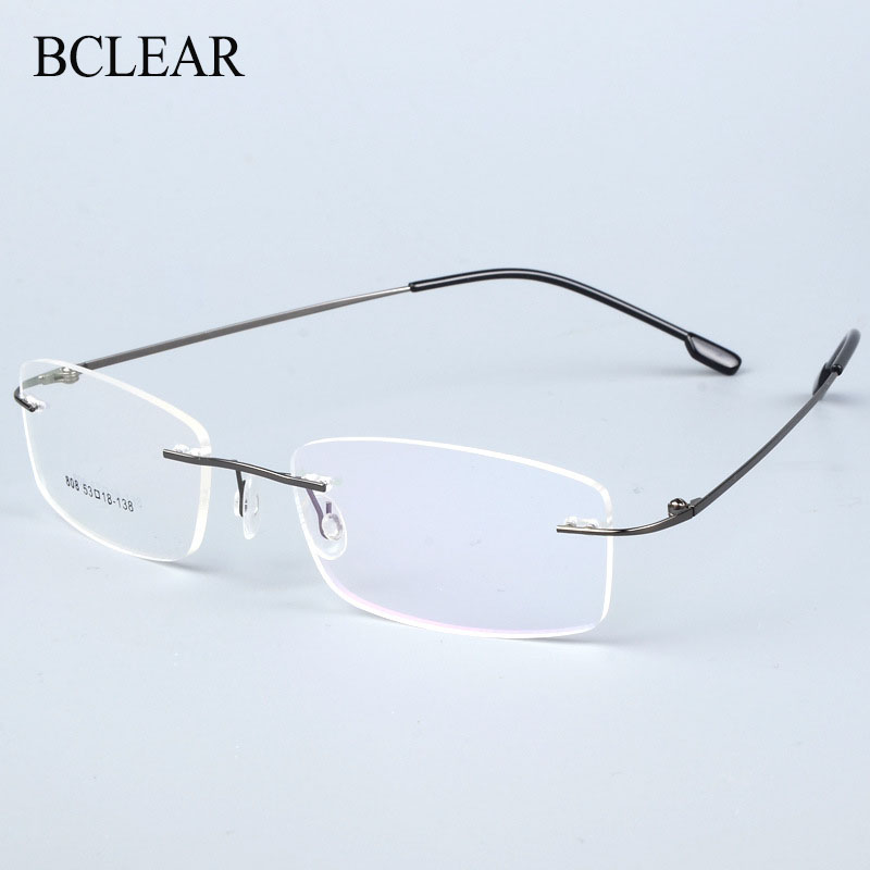 BCLEAR Titanium Alloy Rimless Glasses Frame Men Ultralight Prescription Myopia Optical Eyeglasses Male Frameless Eyewear 6 color