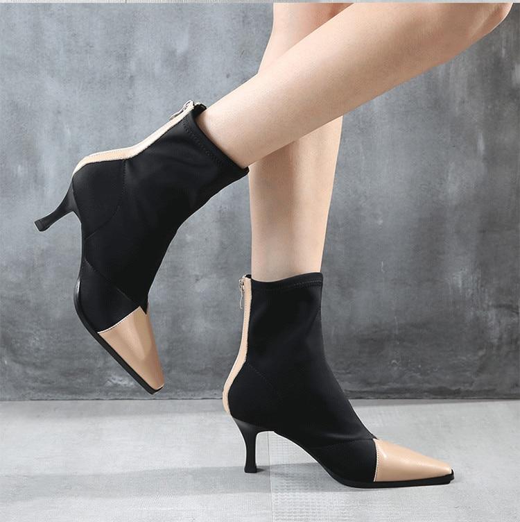 negro Vintage Tejido Dedo Mujeres Feminino Botines Pie Tamaño Red Cuadrado 40 Bota Zapatos Elástico Del Tacón Calcetines Beige 4a7wx4