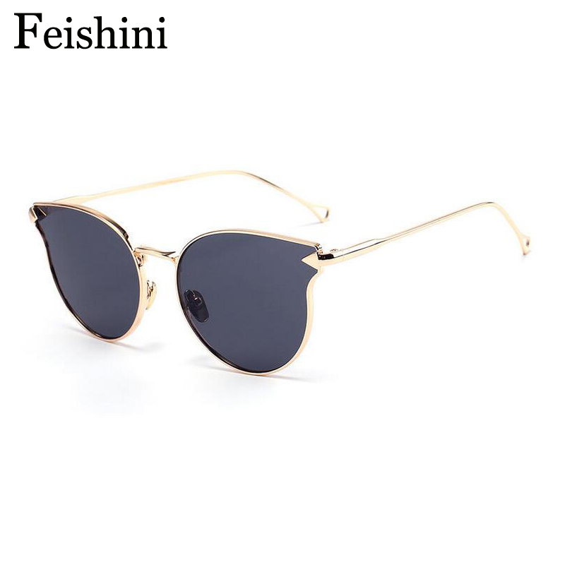 FEISHINI Shop Counters Cat eye Sunglasses Women Brand Designer Luxury High Quality UV Protective Eyewear A modified Face Glasses