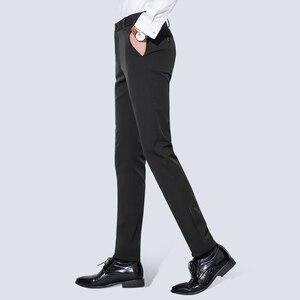 Image 5 - 男性のしわのないカジュアルストレッチズボンパンツフラットフロントスリムストレートフィット夏薄型ダークブルービジネスドレスパンツ