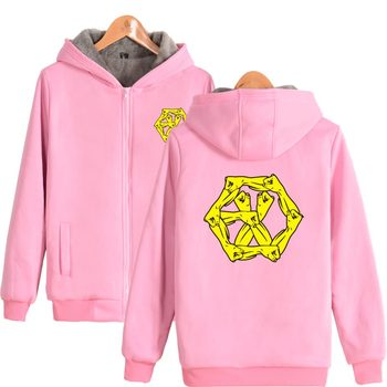 Boy Group EXO EXO-M EXO-K Thick Hoodies Sweatshirts With Zipper in Pink Gray Winter Warm Thickened EXO Hoodie Zip-Up Plus Size фото