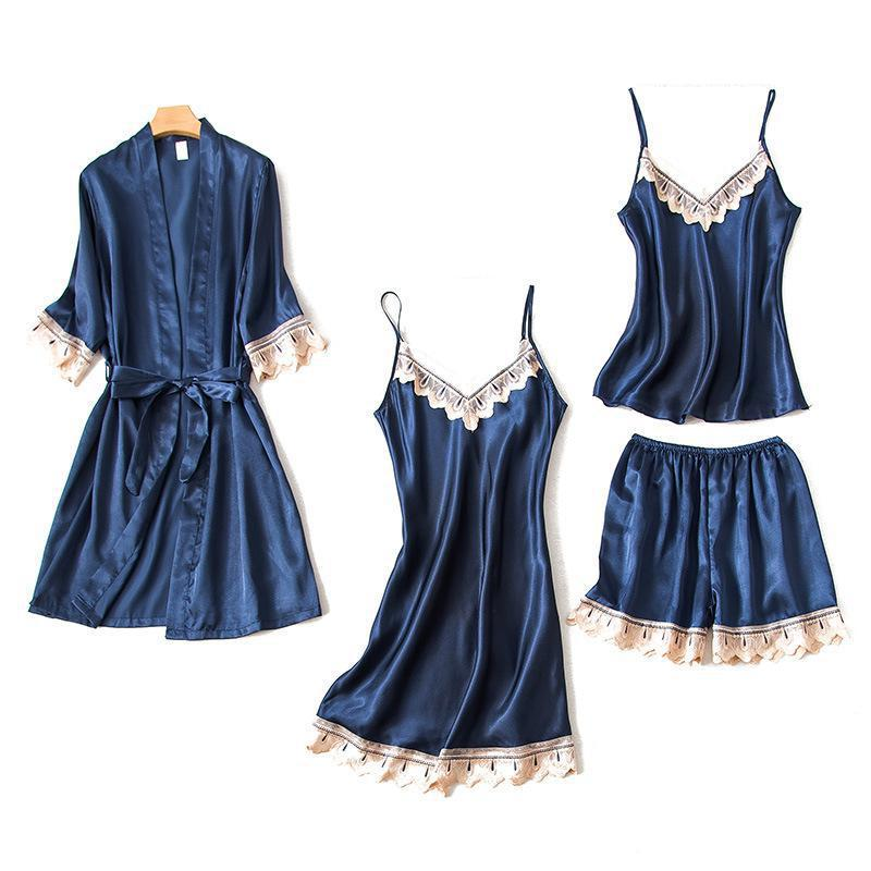 New Women Satin Wedding Robe Dress Set Casual Nightdress Sexy Sleepwear Bridemaid Bride 4pcs Kimono Bath Gown Home Clothes