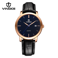 VINOCE Top Brand Luxury Quartz Watch Men Fashion Relogio Masculino Business Leather Band Watches 2016 Male