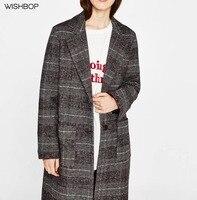 WISHBOP YENI 2017 Sonbahar Yeni Kadın Moda Uzun Yün Kontrol Siper ceket Yaka Yaka Düğme YUKARı Geri Geniş Kemer Uzun Kollu Yarık