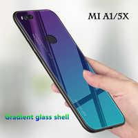 Gradient phone shell for Xiaomi Mi A1 Case for Xiaomi my A1 5X Mi5X MiA1 Glass colorful coque Mi A 1 5 X tempered glass Cover