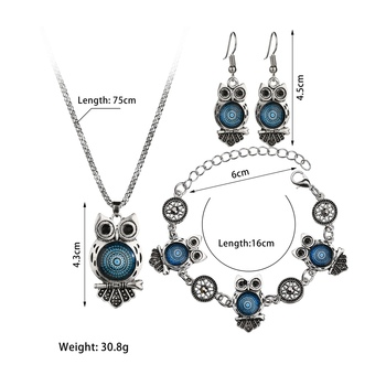 MissCyCy Ancient Silver Color Owl Jewelry Set New Synthetic Blue Stone Pendant Necklace 5