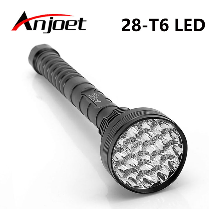 Anjoet 28 x T6 LED 40000 lumens High power 5-Modes Glare flashlight Torch Working lamp floodlight accent light camping lantern dc 12v remote control 50w bird hunting device for hunting