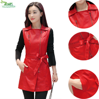 Female leather vest coat 2017 autumn new outwear sleeveless sashes spliced long faux leather coat for women clothes top QW619