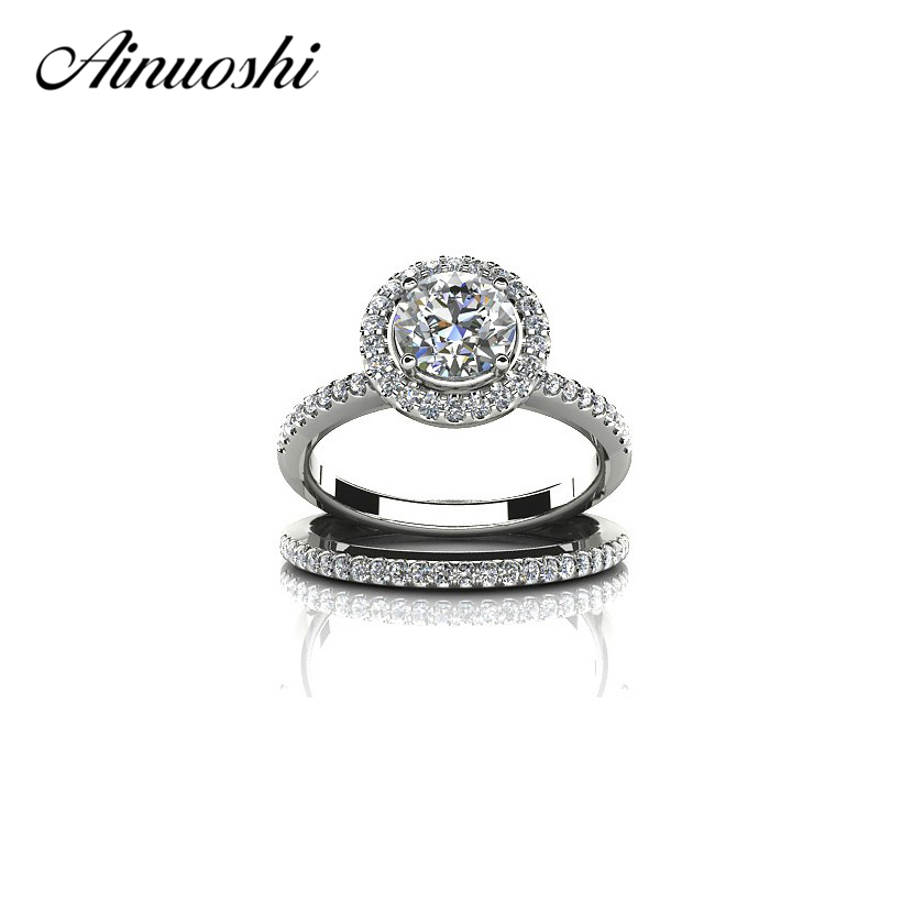 AINUOSHI 1 Carat Halo Round Cut SONA Ring Sets 925 Sterling Silver Engagement Rings Women Wedding Lovers Promise Band Ring Sets