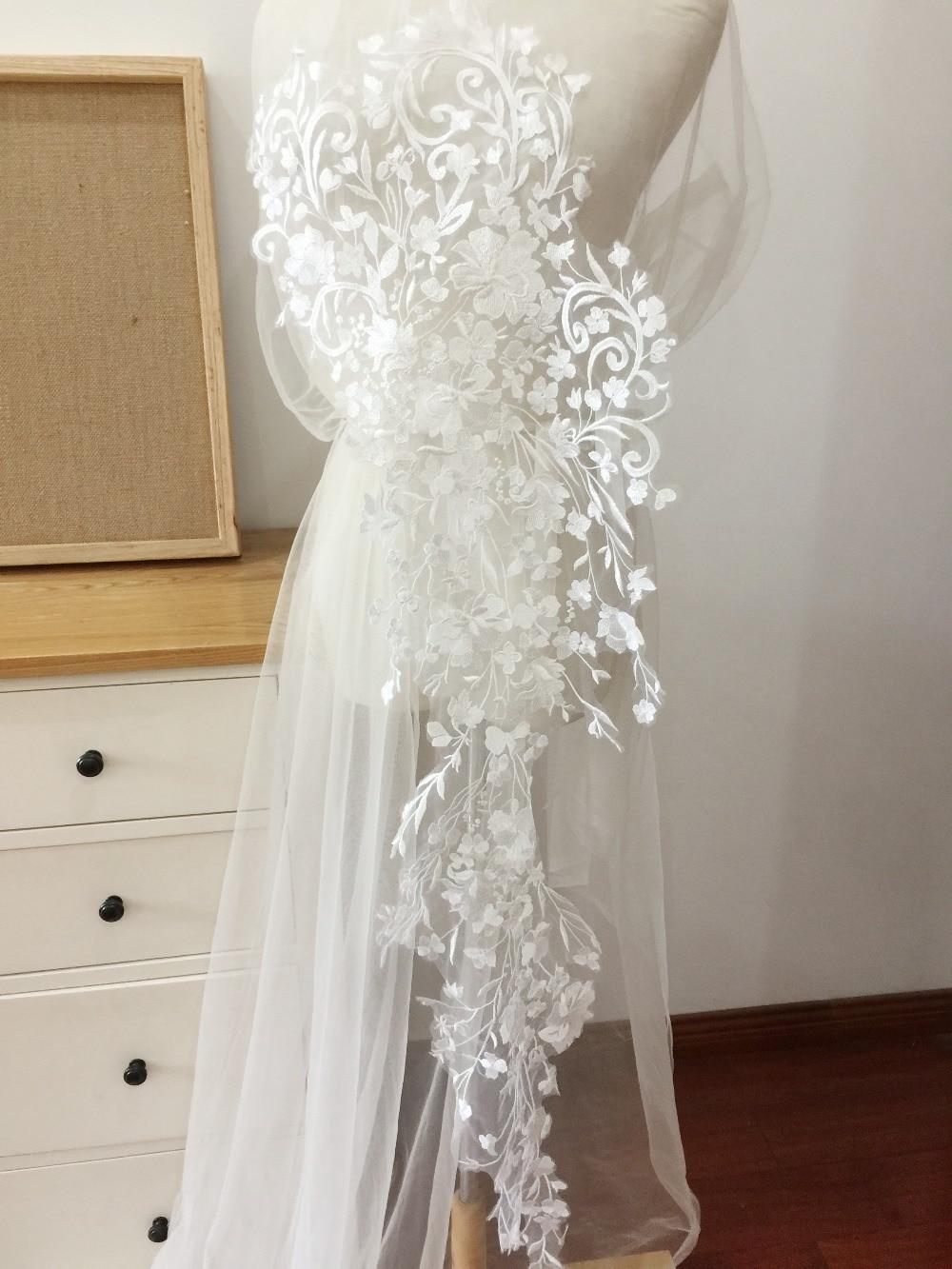 Bridal Dress Lace Applique Off White Floral Trim Embroidered Wedding Motif 1 PC