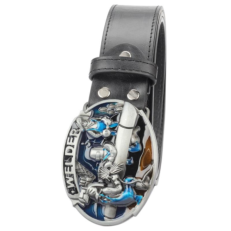 Cinturón de cuero de hombre con hebilla de soldador