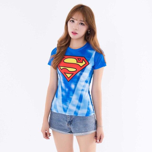 0aa21d6c4 Marvel superman camisa de compressão mulheres crossfit aptidão manga curta  camiseta musculação encabeça roupas