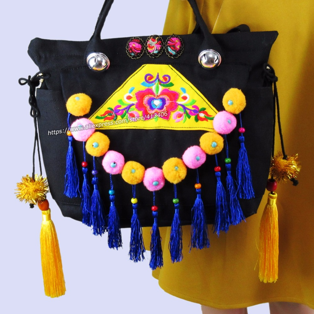 2-Usage Vintage Hmong Tribal Ethnic Thai Indian Boho shoulder bag messenger tote bag for women embroidery pom trim bell SYS-1005 vintage hmong boho tribal ethnic thai indian boho embroidery hand bag messenger purse bag hobo tote bag pom bead trim sys 1016
