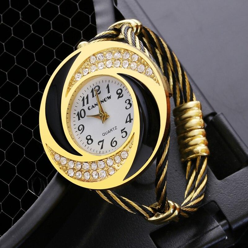 2019 New Stylish Women Creative Bangle Rhinestone Wristwatch Full Steel Analog Big Gold Dial Watches Clock Relogio Feminino
