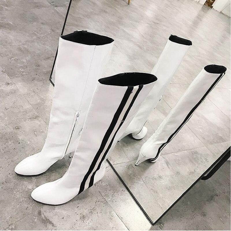 Dirigeants Long white Black Nouveau Microfibre Pointu De Haute Moto Genou Dames 2018 Silla Mode Aiguilles Bout Femmes Bottes Talons dwUZqFdH