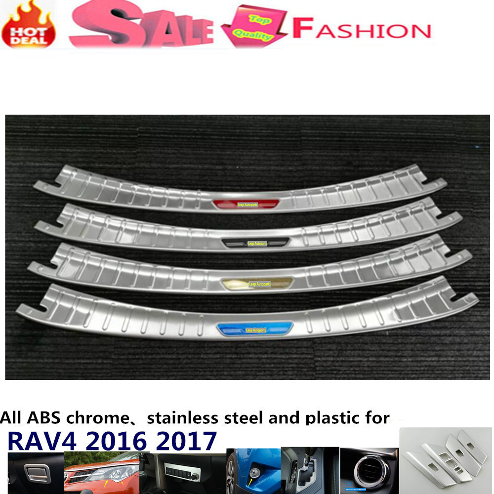 Car body External outside Rear Bumper trim Stainless Steel Scuff plate pedal cover threshold 1pcs For Toyota New RAV4 2016 2017 for hyundai new tucson 2015 2016 2017 stainless steel skid plate bumper protector bull bar 1 or 2pcs set quality supplier