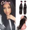 360 Lace Frontal With Bundles 2Pcs 7A Malaysian Virgin Hair Straight Human Hair 360 Lace Band Frontal Closure With  Baby Hair