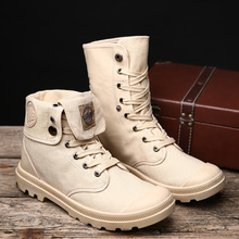 Canvas Shoes Men Boots Leisure High Top Ankle Boots Male Fla
