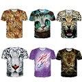 Homens Masculino Face Animal Dos Desenhos Animados Impresso T-shirt 3D Tigre Branco Chita Flamingos Golfinhos Coloridos Tops t-shirts de manga Curta