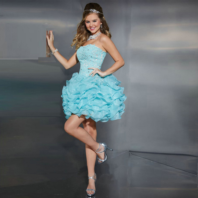 US $143.0 |2016 Lace Strapless Tiered Organza Short Plus Size Prom Dresses  8th Grade Graduation Dresses Light Blue-in Prom Dresses from Weddings & ...