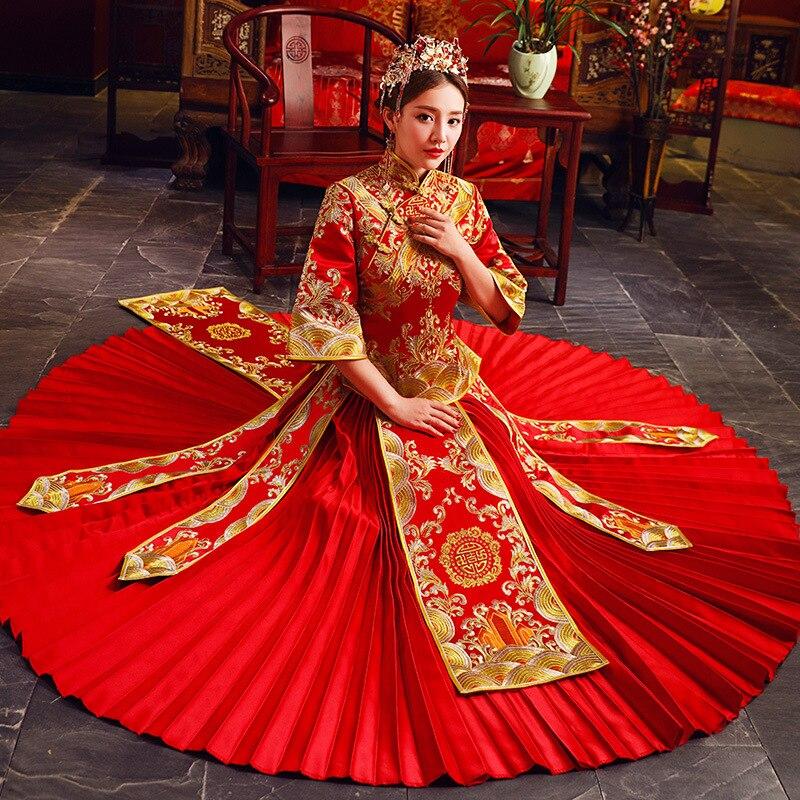 2018 модное красное вышитое Чонсам Ципао китайский женский халат Китайский традиционный свадебный платье невесты традиционная розовая одеж