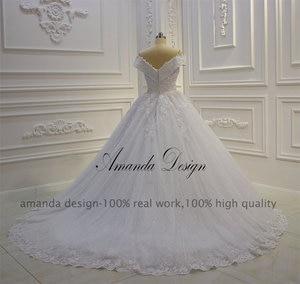 Image 4 - אמנדה עיצוב vestido casamento כבוי כתף תחרת Applique שמלת חתונה נוצצת