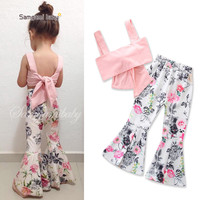 2Pcs Summer Girls Kids Clothes Set Floral Print Flare Pants Spaghetti Strap Tops Toddler Girls Outfits