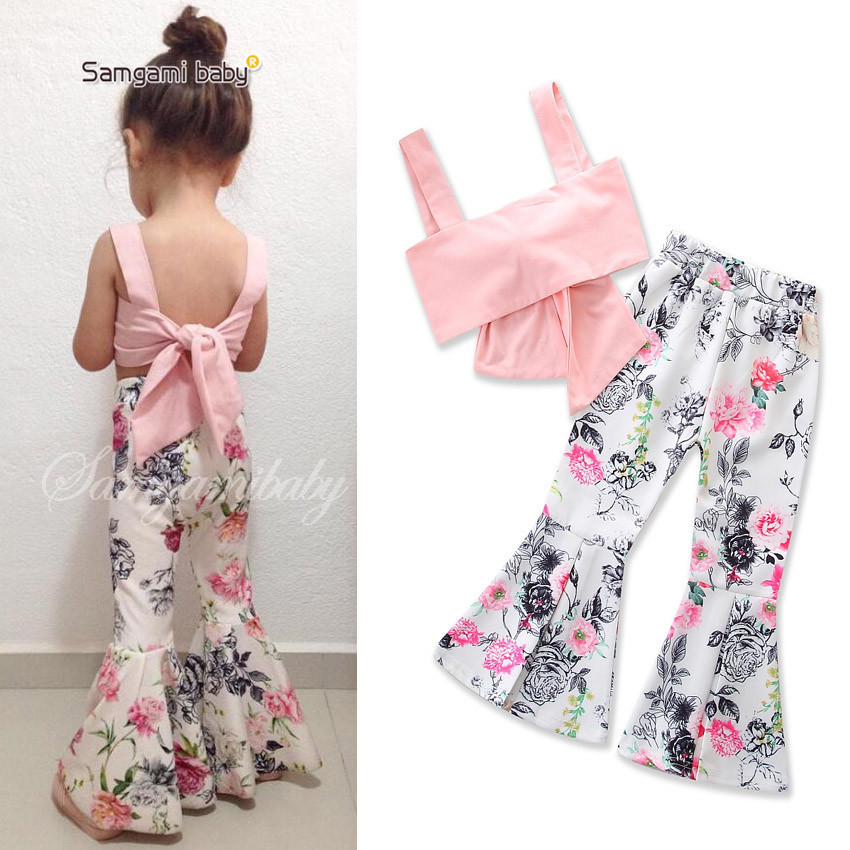 цена на Summer Girls Kids Clothes Set 2 Pcs Floral Print Flare Pants+Spaghetti Strap Tops Toddler Girls Outfits Age 1 2 3 4 5 6 Years