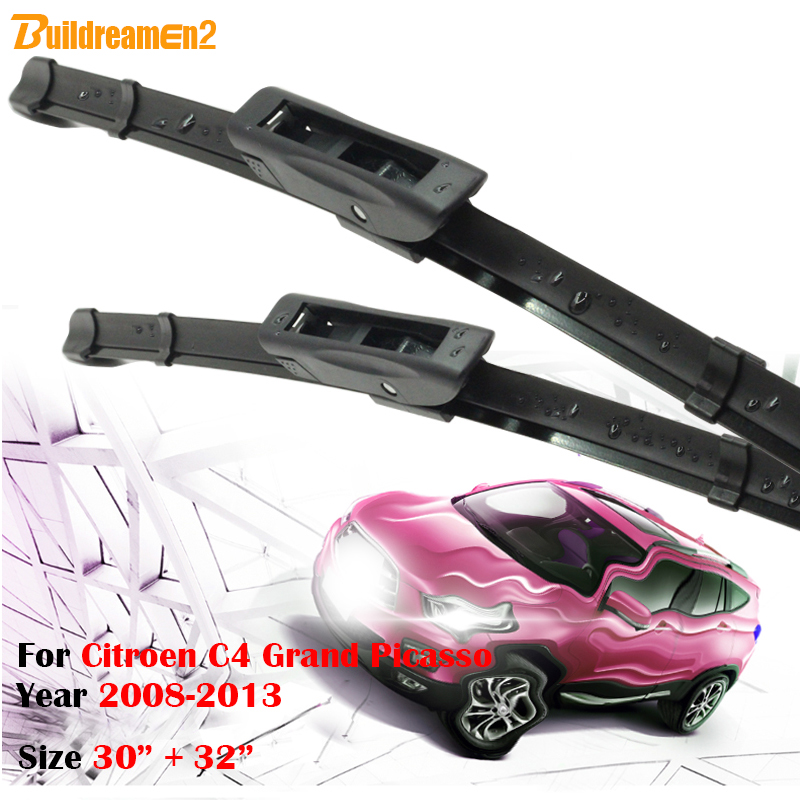 Buildreamen2 2Pcs Car Frameless Window Wiper Blades For 2008 2013 Citroen C4 Grand Picasso Soft Rubber