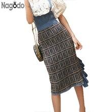 NAGODO Plaid Pencil Skirt 2018 New Spring Knitted Skirts women Agaric Slits Ruffles Ladies Female Sweet Irregular Midi
