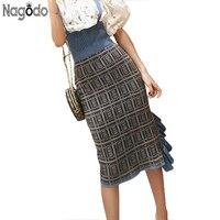NAGODO Plaid Pencil Skirt 2018 New Spring Knitted Skirts women Agaric Slits Ruffles Ladies Female Sweet Irregular Midi Skirt