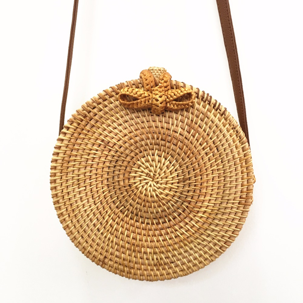 Bali Rattan Bags For Women 2018 Summer Beach Shoulder Bag Handmade Woven Crossbody Circle Bag Bohemia bowknot Straw Handbags