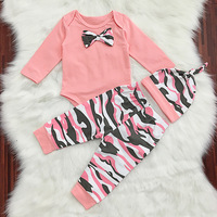 Spring Baby Girls Clothes Set Bowknot Romper Camouflage Pants Cute Hat 3Pcs Set Baby Clothing Set