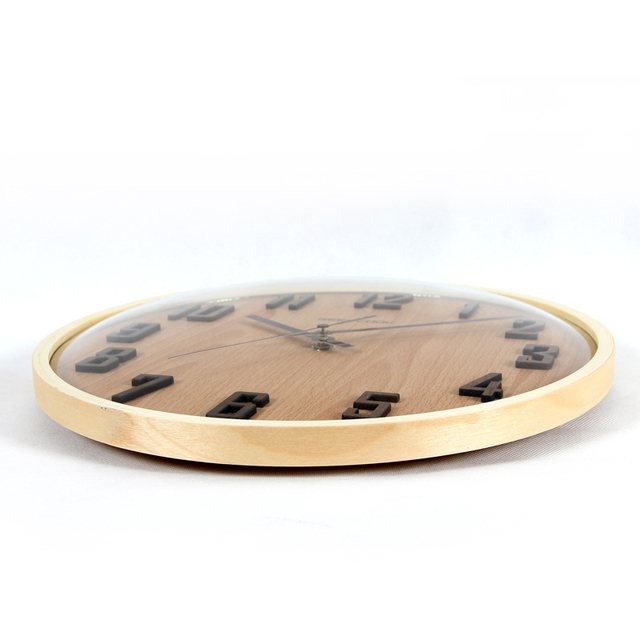 high quality 31.5cm wood glass modern design 3d digital wall clock home decor antique wood decor Wooden wall clock art design