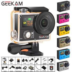 """Image 1 - Câmera de ação geekam h3r/h3 ultra hd 4k, 30fps 20mp, tela dupla à prova d água, wifi 2.0 """"e 170d capacete câmera de gravação de vídeo esportivo"""