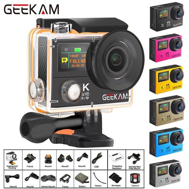 """Câmera de ação geekam h3r/h3 ultra hd 4k, 30fps 20mp, tela dupla à prova d água, wifi 2.0 """"e 170d capacete câmera de gravação de vídeo esportivo"""