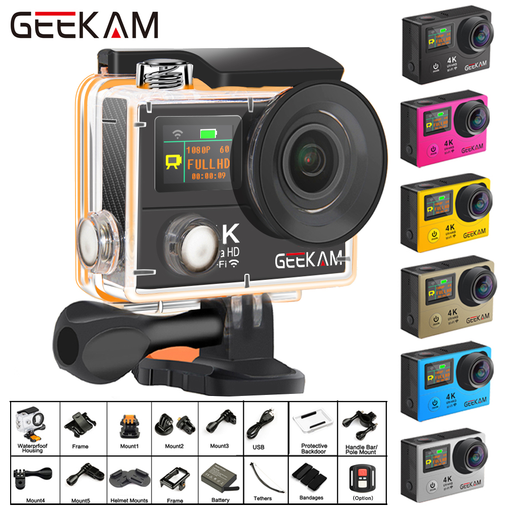 GEEKAM H3R/H3 Action Camera Ultra HD 4K/30fps 20MP WiFi 2.0 170D Dual Screen Waterproof Helmet Video Recording Camera Sport Cam image