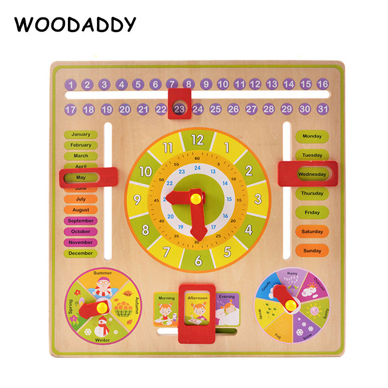 Baby Toys Montessori Calendar/ Time Learning Clock Wooden Toys For Kids Weather/Week Cognition Educational Teaching Aids