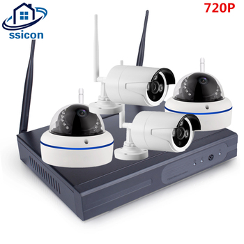 SSICON 4CH HD Home Security Wireless NVR IP Camera System 720P CCTV Set Outdoor Wifi Cameras Video NVR Surveillance CCTV KIT anran 4ch hd 720p hd wifi nvr 7 lcd monitor 1 0 megapixel outdoor security wireless ip camera video surveillance system for home