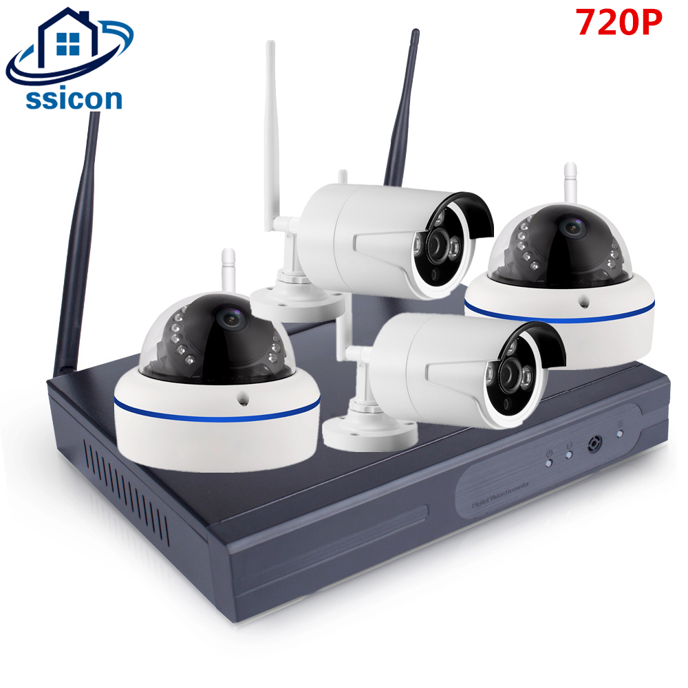 SSICON 4CH HD Home Security Wireless NVR IP Camera System 720P CCTV Set Outdoor Wifi Cameras Video NVR Surveillance CCTV KIT image