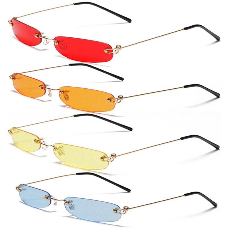 Small Orange Rimless Rectangle Sunglasses Men Women 90s Designer Tiny Narrow Frameless Tint Sun Glasses Shades