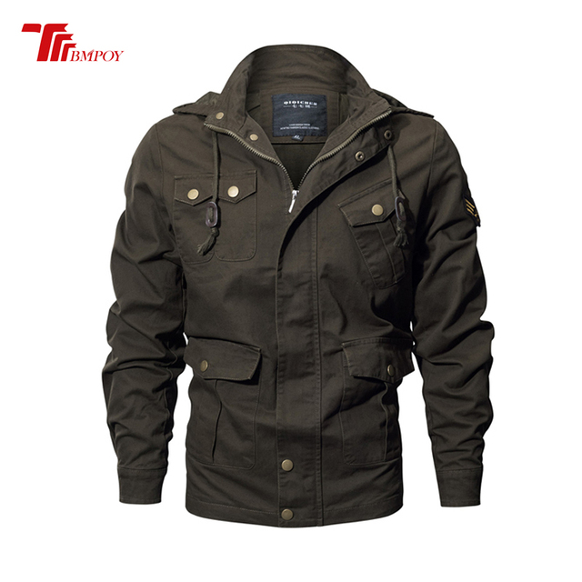 778b6f436aff8 Autumn Winter Army Bomber Jacket Men Military Tactical Jackets Hoody Mens  Air Force One Coats Plus