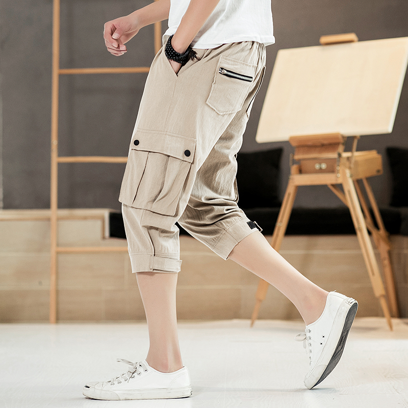 100%Cotton Cargo Shorts Men Side Pocket Design Casual Beach Shorts Homme Quality Bottoms Elastic Waist Fashion Brand Boardshorts pocket