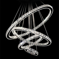 4 Rings LED Crystal Chandeliers Round Ring Chandeliers Modern Led Light Crystal Living Room Lamp From Lobby lighting