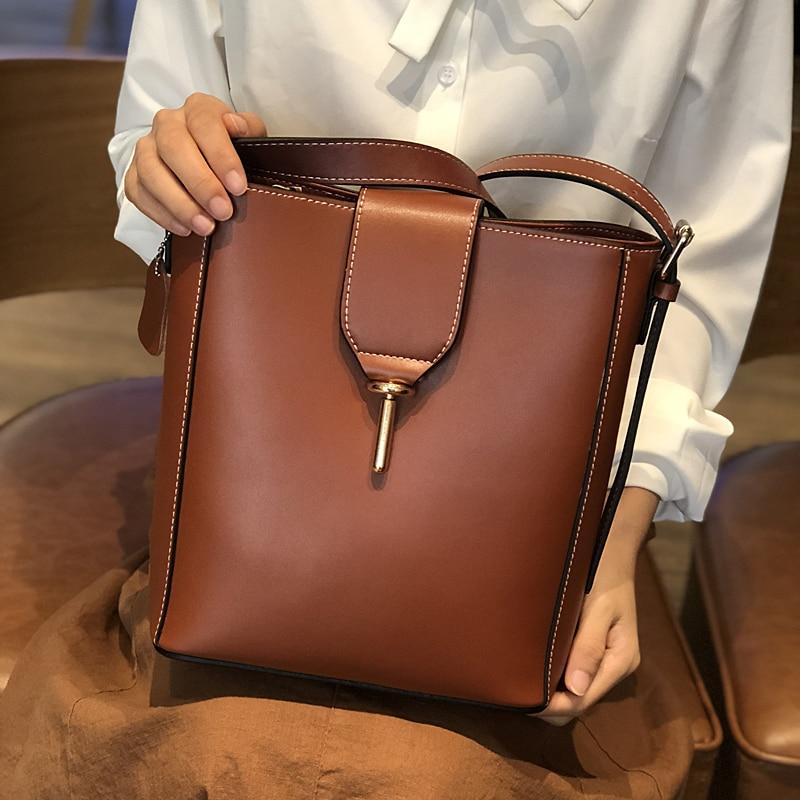 Burminsa Elegant Bucket Women Genuine Leather Bags Large Capacity Female Shoulder Bags High Quality Ladies Hand Bags Winter 2018