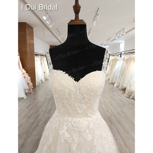 Image 3 - A line Classic Wedding Dress Lace Appliqued Corset Simple Elegant Bridal Gown High Quality Factory Real
